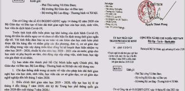Cong van cho hoc sinh nghi hoc so 577.UBND.VX HCMC